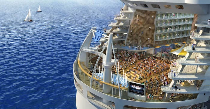 Rock climbing wall in a cruise ship