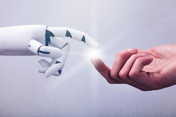 Human hand touch robot hand