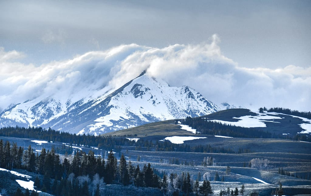 Cloud Wrapped Mountains in Yellowstone National Park