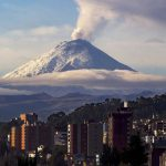 Mount Cotopaxi towering above the city