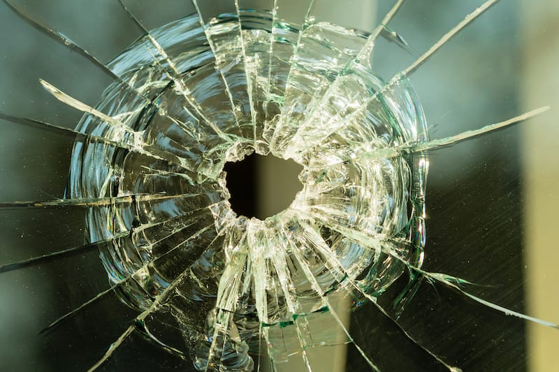 Post November 21st 2019 - bullet hole on glass making cracks